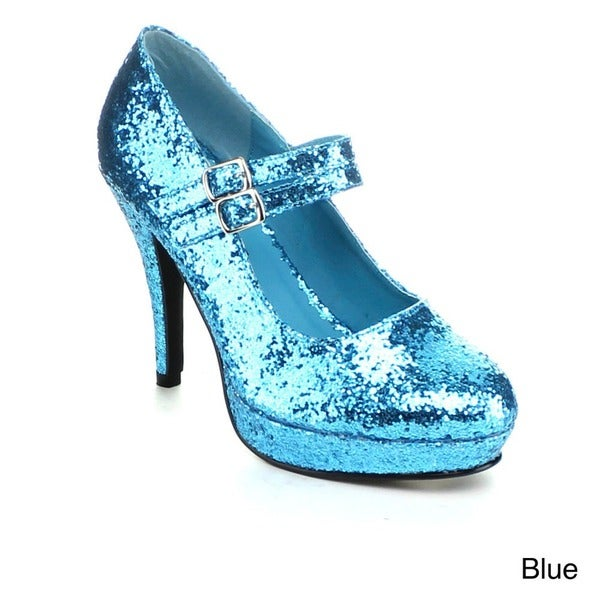Ellie Women's '421-Jane-G' Glittery Double Strap Mary Jane Heels (As Is Item)