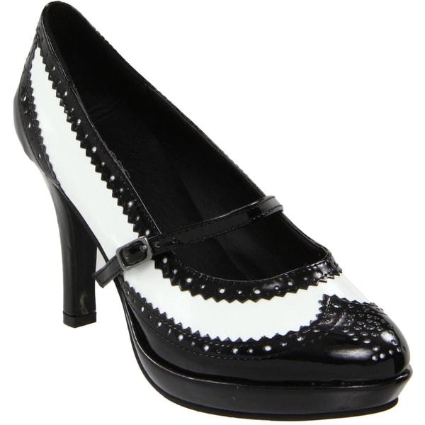 Ellie Women's '414-Flapper' Black/ White Pointed Toe Pumps