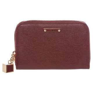 Fendi Deep Red Saffiano Leather Mini Zip-around Wallet