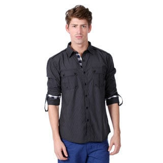191 Unlimited Men's Slim Fit Black Thin Stripe Woven Shirt