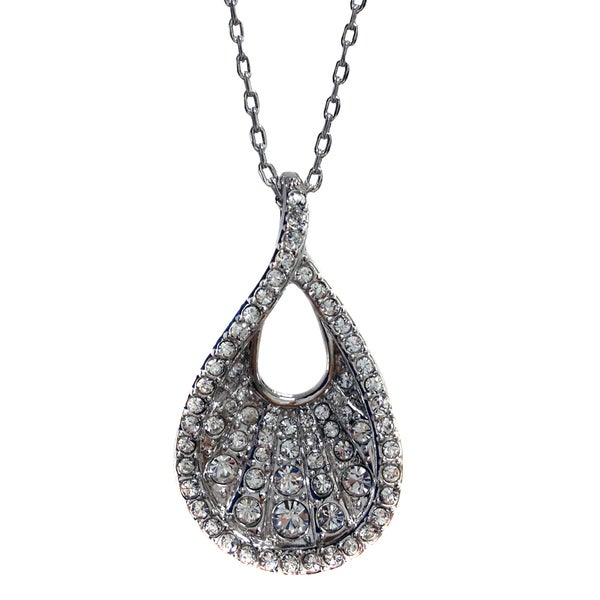 Silvertone Open Teardrop Crystal Pendant Necklace