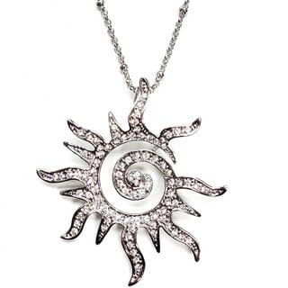 Spiral Sun and Crystal Pendant Necklace