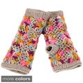 Womens Flower Crochet Fleece Handwarmers (One Size)
