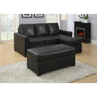 Lucas Black Sectional with Ottoman