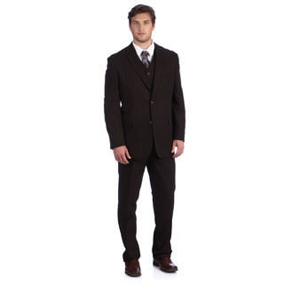 Lucelli Men's Brown Serge Vested 3-button Suit