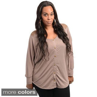 Stanzino Women's Long Sleeve Plus Size Button Down Shirt with Embroidered Back