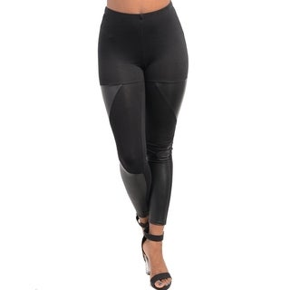 Stanzino Women's Black Wet Look Paneled Elastic Leggings