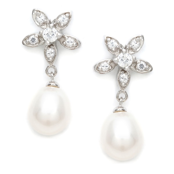 Sterling Silver Freshwater Pearl and Cubic Zirconia Earrings