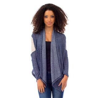 Stanzino Women's Crochet Sleeve Blue Cardigan
