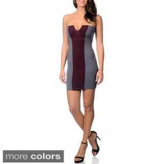 Women's Colorblocked Strapless Cocktail Dress