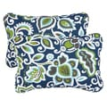 Floral Navy Corded 13 x 20 inch Indoor/ Outdoor Throw Pillows (Set of 2)