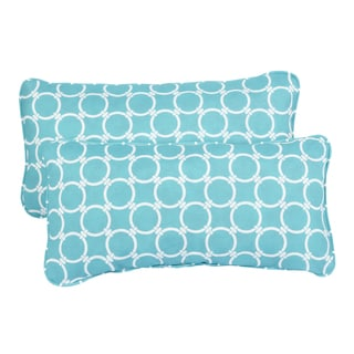 Linked Aqua Corded 12 x 24 Inch Indoor/ Outdoor Lumbar Pillows (Set of 2)