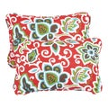 Floral Red Corded 13 x 20 inch Indoor/ Outdoor Throw Pillows (Set of 2)