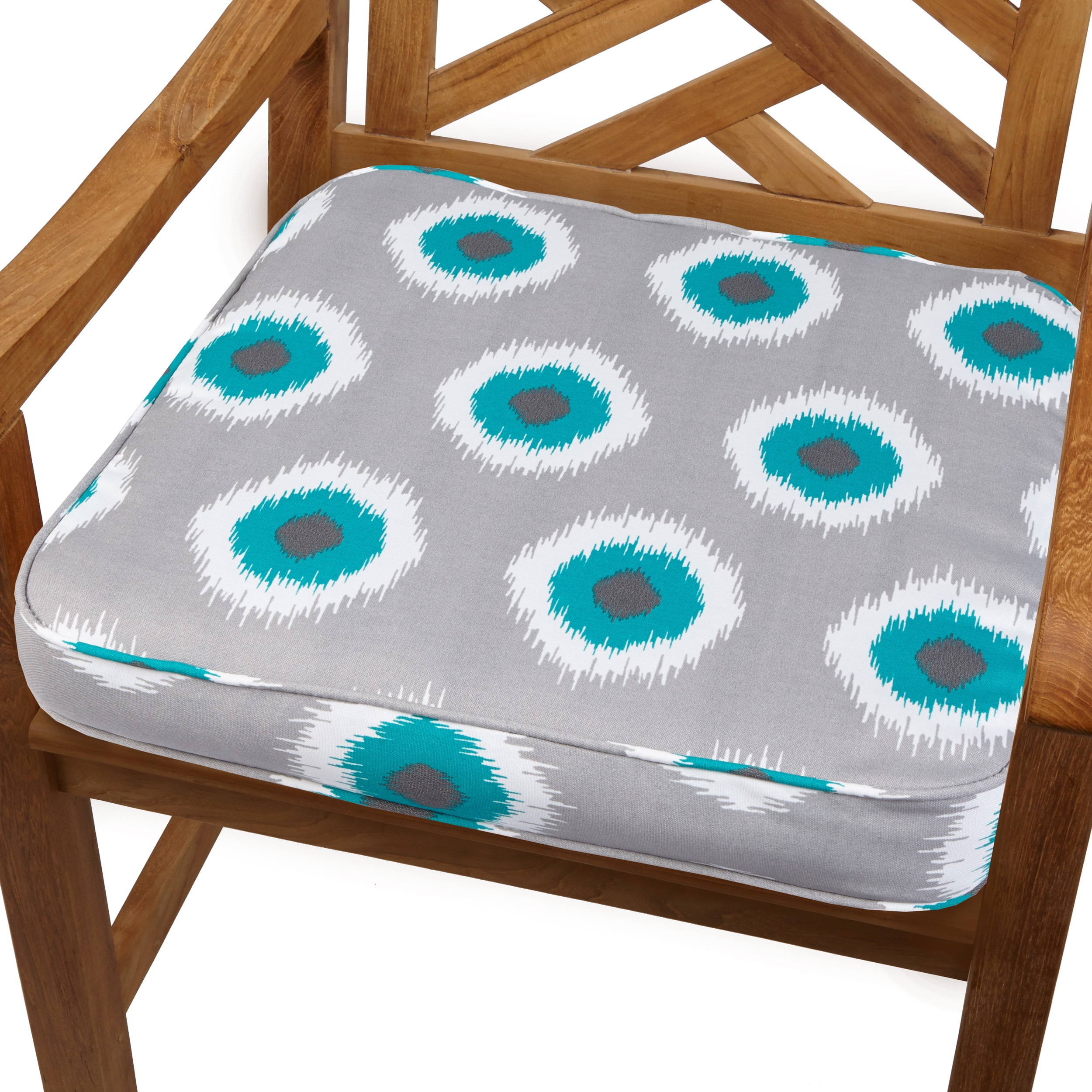 Ikat Teal Dot 20-inch Indoor/ Outdoor Corded Chair Cushion at Sears.com