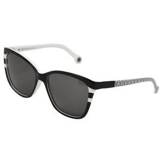 Carolina Herrera Women's 'SHE543 0943' Black/ White Retro Sunglasses