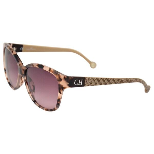 Carolina Herrera 'SHE511 OAGK' Havana Brown/Beige Gloss Sunglasses