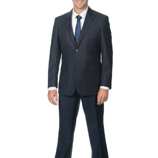 Nicole Miller Men's Blue/ Lavender Wool 2-button Peak Lapel Suit