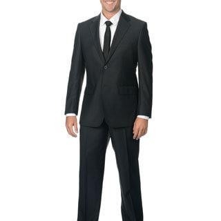 Nicole Miller Men's Charcoal Grey Wool Notch Lapel Suit