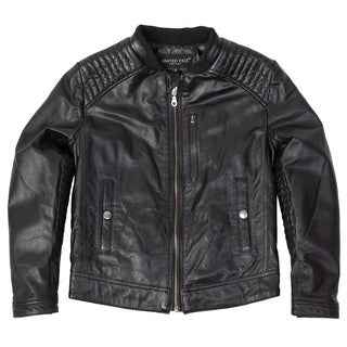 United Face Boys Black Lambskin Leather Biker Jacket