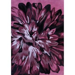 Handmade Alexa Prive Plum Floral Pattern Wool Rug (3'6 x 5'6)