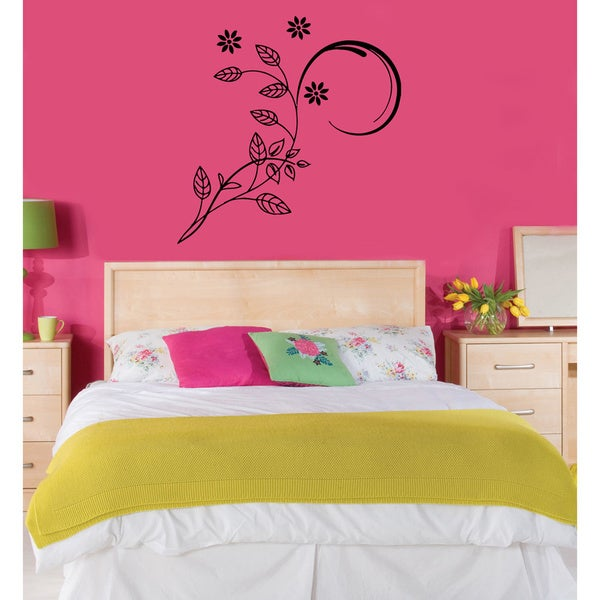 Floral Pattern with Curves Vinyl Wall Decal