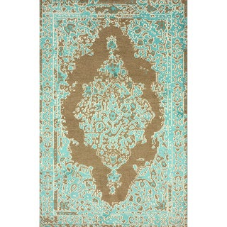 nuLOOM Hand-knotted Persian Overdyed Turquoise Wool/ Viscose Rug (5' x 8')