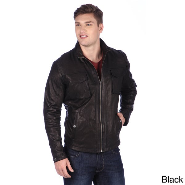 United Face Mens Leather Moto Jacket