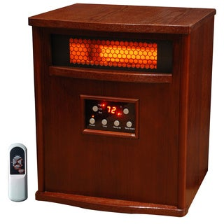 Lifesmart 6 Element 1500-Square Foot Wood Cabinet Infrared Heater with Remote