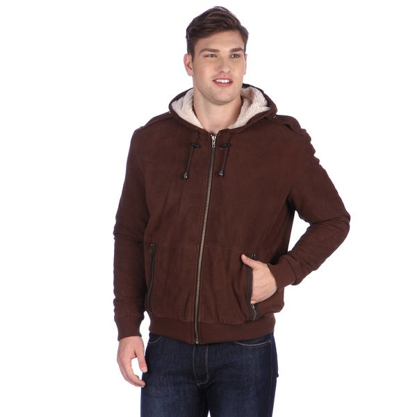 United Face Mens Brown Hooded Suede Bomber Jacket with Sherpa Lining