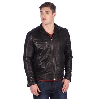 United Face Mens Black Leather Moto Jacket