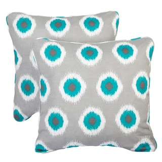 Ikat Teal Dots Corded Indoor/ Outdoor Square Pillows (Set of 2)