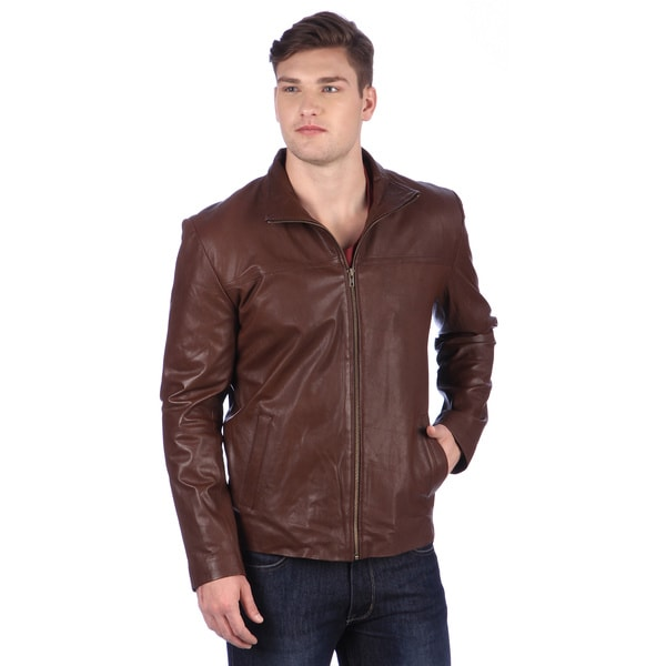 United Face Men's Brown Leather Hipster Jacket