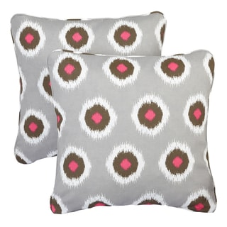 Ikat Pink Dots Corded Indoor/ Outdoor Square Pillows (Set of 2)