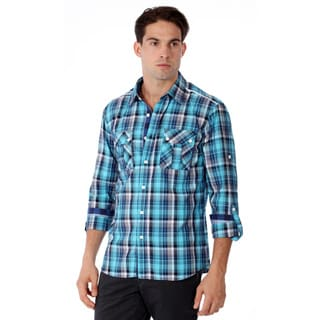 191 Unlimited Mens Slim Fit Blue Plaid Woven Shirt