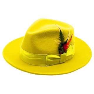 Ferrecci Men's Yellow Fedora Hat