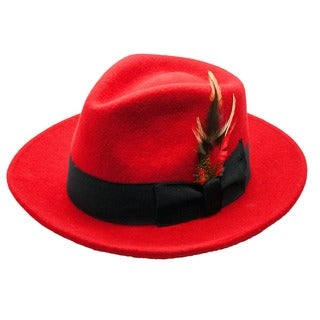 Ferrecci Men's Red/ Black Fedora Hat