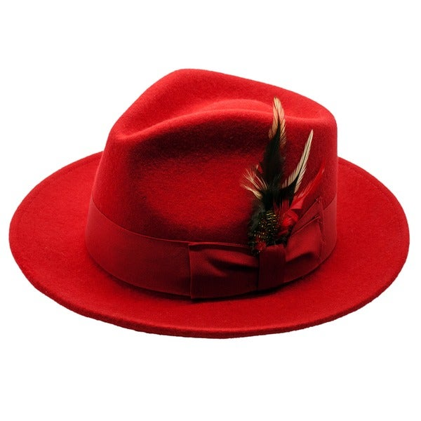 Ferrecci Men's Red Fedora Hat
