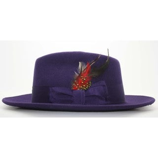 Ferrecci Men's Purple Wool Fedora Hat