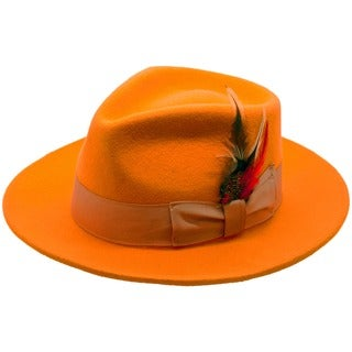 Ferrecci Men's Orange Wool Fedora Hat