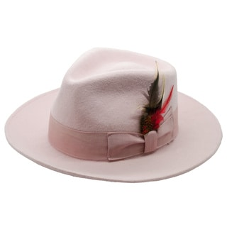 Ferrecci Men's Pink Wool Fedora Hat