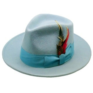 Ferrecci Men's Sky Blue Wool Fedora Hat