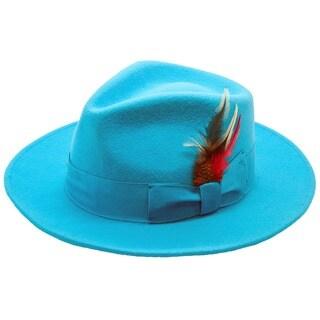 Ferrecci Men's Turquoise Wool Fedora Hat