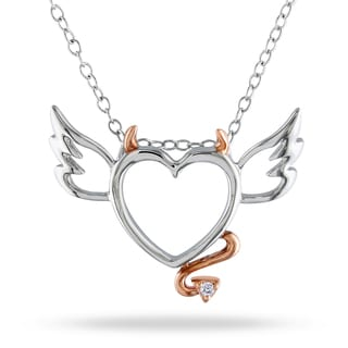 Miadora Sterling Silver .01ct Diamond Devil Heart Necklace (H-I, I2, I3)