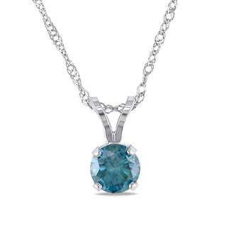 Miadora 14k White Gold 1/2ct TDW Blue Diamond Solitaire Necklace