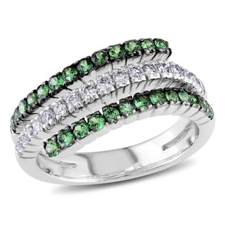Miadora Signature Collection 18k White Gold Green Garnet and 1/3ct TDW Diamond Ring (H-I, I1-I2)