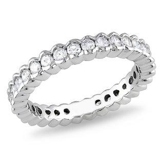 Miadora 18k White Gold 1ct TDW Diamond Eternity Ring (G-H, SI1-SI2)