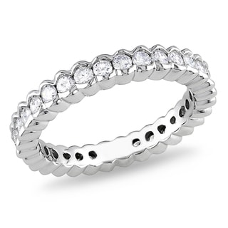 Miadora 18k White Gold 1ct TDW Diamond Eternity Ring (G-H, SI1-SI2)