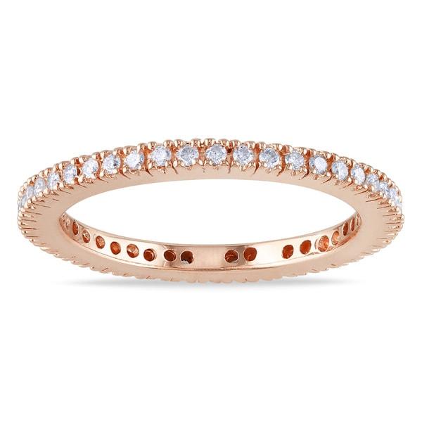 Miadora 18k Rose Gold 1/3ct TDW Diamond Eternity Ring (G-H, SI1-SI2)