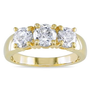 Miadora 14k Yellow Gold 2ct TDW Round Three Stone Diamond Ring (H-I, I1-I2)