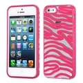 BasAcc Transparent Clear/ Solid Pink Zebra Skin for Apple iPhone 5/ 5S